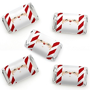 Jolly Santa Claus - Mini Candy Bar Wrappers Sticker - Christmas Party Small Favors - 40 Count
