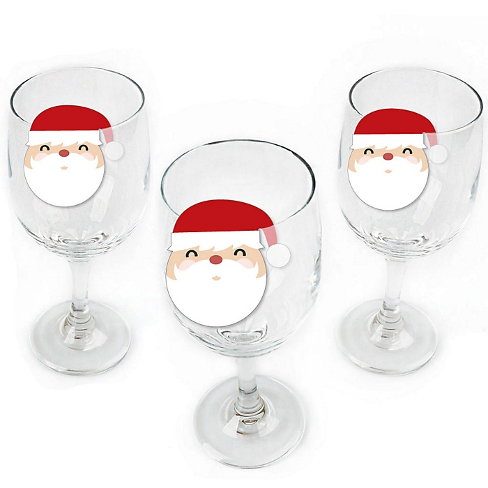 Jolly Santa Claus - Shaped Christmas Party Wine Glass Markers - Set of 24