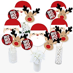 Jolly Santa Claus - Christmas Party Centerpiece Sticks - Table Toppers - Set of 15