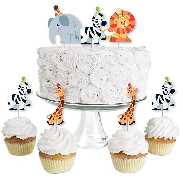 Jungle Party Animals - Dessert Cupcake Toppers - Safari Zoo Animal Birthday Party or Baby Shower Clear Treat Picks - Set of 24