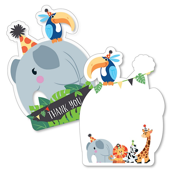 Jungle Party Animals - Shaped Thank You Cards - Safari Zoo Animal Birthday Party or Baby Shower Thank You Note Cards with Envelopes - Set of 12