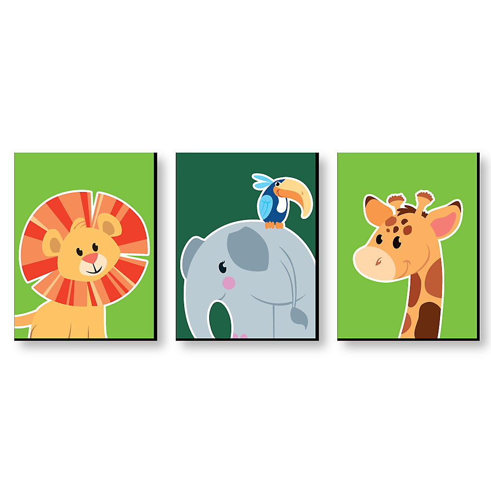 Jungle Party Animals Safari Zoo Animal Nursery Wall Art Kids Room Decor 7 5 X 10 Inches Set Of 3 Prints