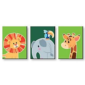 Jungle Party Animals - Safari Zoo Animal Nursery Wall Art & Kids Room Decor - 7.5 x 10 inches - Set of 3 Prints