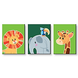Jungle Party Animals - Safari Zoo Animal Nursery Wall Art & Kids Room Decor - 7.5 x 10 inches - Set of 3 Prints