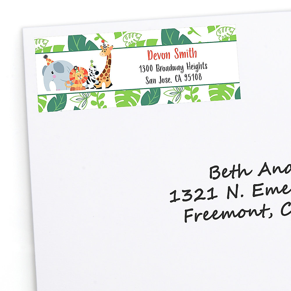 Jungle party animals personalized safari zoo animal birthday party or baby shower return address labels 30 ct