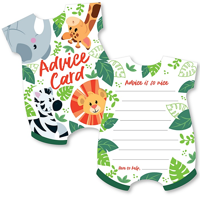 Jungle Party Animals - Baby Bodysuit Wish Card Safari Zoo Animal Baby Shower Activities - Shaped Advice Cards Game - Set of 20