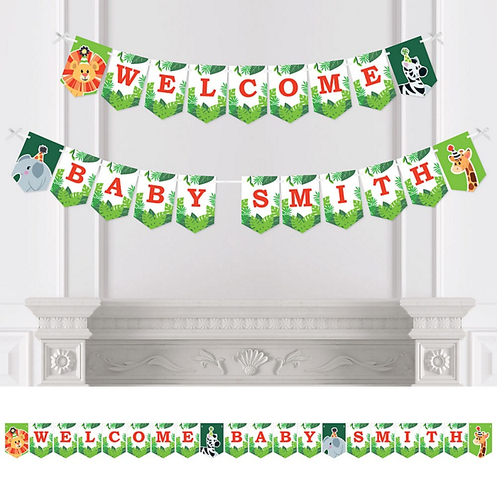 Jungle Party Animals - Personalized Safari Zoo Animal Baby Shower Bunting Banner & Decorations