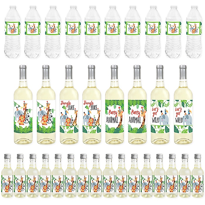 Jungle Party Animals - Mini Wine Bottle Labels, Wine Bottle Labels and Water Bottle Labels - Safari Zoo Animal Birthday Party or Baby Shower Decorations - Beverage Bar Kit - 34 Pieces