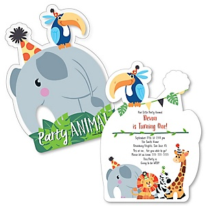 Jungle Party Animals - Shaped Safari Zoo Animal Birthday Party Invitations - Set of 12