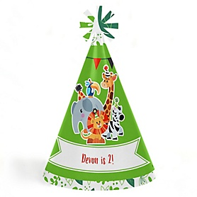 Jungle Party Animals - Personalized Cone Safari Zoo Animal Happy Birthday Party Hats for Kids and Adults - Set of 8 (Standard Size)