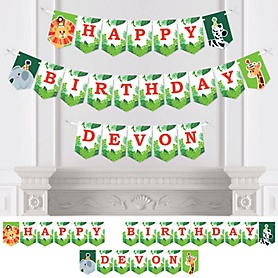 Jungle Party Animals - Personalized Safari Zoo Animal Birthday Party Bunting Banner & Decorations