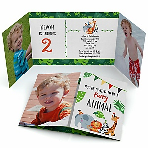 Jungle Party Animals - Personalized Safari Zoo Animal Birthday Party Photo Invitations - Set of 12