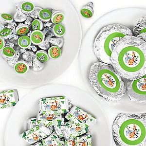 Jungle Party Animals - Mini Candy Bar Wrappers, Round Candy Stickers and Circle Stickers - Safari Zoo Animal Birthday Party or Baby Shower Candy Favor Sticker Kit - 304 Pieces