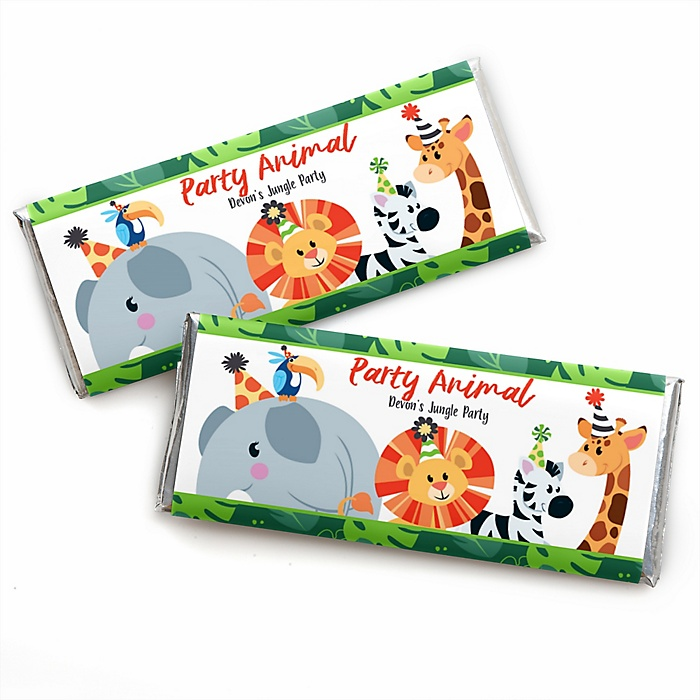 Jungle Party Animals - Personalized Candy Bar Wrapper Safari Zoo Animal Birthday Party or Baby Shower Favors- Set of 24