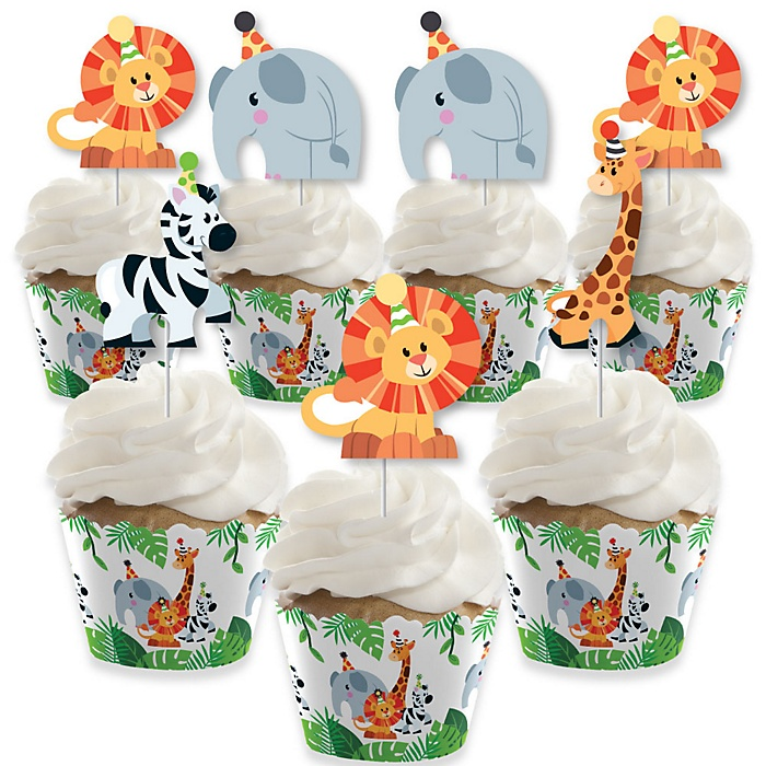 Jungle Party Animals - Cupcake Decorations - Safari Zoo Animal Birthday Party or Baby Shower Cupcake Wrappers and Treat Picks Kit - Set of 24