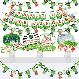 Jungle Party Animals - Banner and Photo Booth Decorations - Safari Zoo Animal Birthday Party or Baby Shower Supplies Kit - Doterrific Bundle