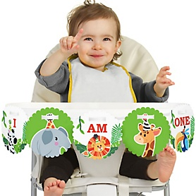 Jungle Party Animals 1st Birthday - I am One - First Safari Zoo Animal Birthday High Chair Birthday Party Banner