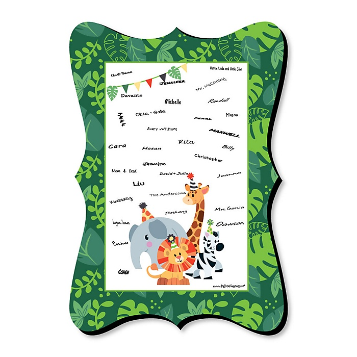 Jungle Party Animals - Unique Alternative Guest Book - Safari Zoo Animal Birthday Party or Baby Shower Signature Mat