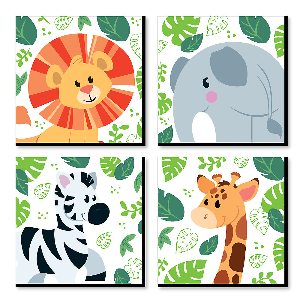 Jungle Party Animals Safari Zoo Animal Kids Room Nursery Decor And Home 11 X Inches Wall Art Set Of 4 Prints For Baby S