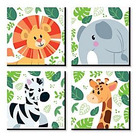 Jungle Party Animals - Safari Zoo Animal Kids Room, Nursery Decor and Home Decor - 11 x 11 inches Nursery Wall Art - Set of 4 Prints for Baby's Room