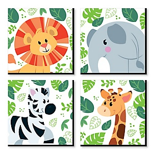 Jungle Party Animals - Safari Zoo Animal Kids Room, Nursery Decor and Home Decor - 11 x 11 inches Nursery Wall Art - Set of 4 Prints for Baby's Room