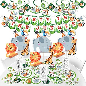Jungle Party Animals - Safari Zoo Animal Birthday Party or Baby Shower Supplies - Banner Decoration Kit - Fundle Bundle
