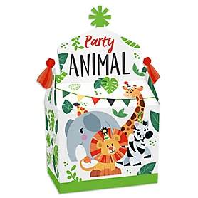 Jungle Party Animals - Treat Box Party Favors - Safari Zoo Animal Birthday Party or Baby Shower Goodie Gable Boxes - Set of 12