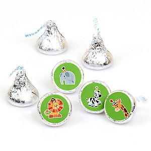 Jungle Party Animals - Safari Zoo Animal Birthday Party or Baby Shower Round Candy Sticker Favors - Labels Fit Hershey's Kisses  - 108 ct