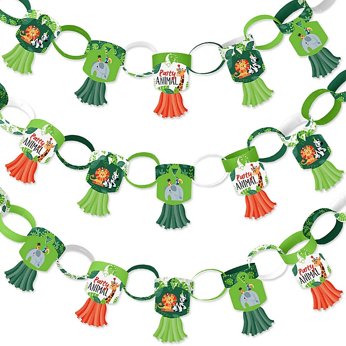 Jungle Party Animals - 90 Chain Links and 30 Paper Tassels Decoration Kit - Safari Zoo Animal Birthday Party or Baby Shower Paper Chains Garland - 21 feet
