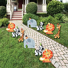 Jungle Party Animals - Elephant, Giraffe, Lion and Zebra Lawn Decorations - Outdoor Safari Zoo Animal Birthday Party or Baby Shower Yard Decorations - 10 Piece