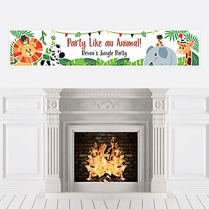 Jungle Party Animals - Personalized Safari Zoo Animal Birthday Party or Baby Shower Banner