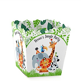 Jungle Party Animals - Party Mini Favor Boxes - Personalized Safari Zoo Animal Birthday Party or Baby Shower Treat Candy Boxes - Set of 12