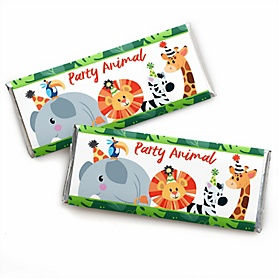Jungle Party Animals -  Candy Bar Wrapper Safari Zoo Animal Birthday Party or Baby Shower Favors- Set of 24
