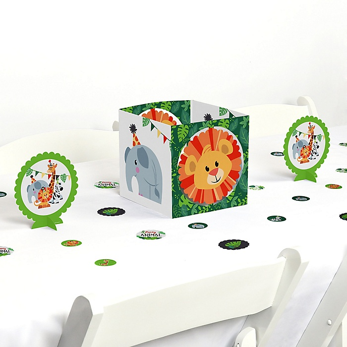 Jungle Party Animals - Safari Zoo Animal Birthday Party or Baby Shower Centerpiece and Table Decoration Kit