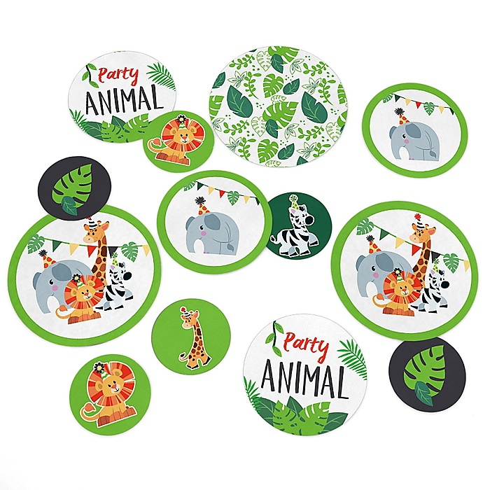 Jungle Party Animals - Safari Zoo Animal Birthday Party or Baby Shower Giant Circle Confetti - Party Decorations  - Large Confetti 27 Count
