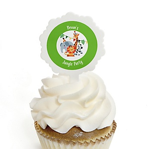 Jungle Party Animals - Cupcake Picks with Personalized Stickers - Safari Zoo Animal Birthday Party or Baby Shower Cupcake Toppers - 12 ct