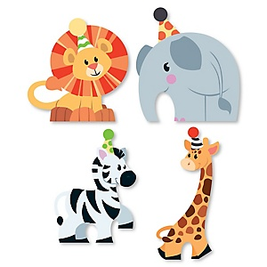 Jungle Party Animals - DIY Shaped Safari Zoo Animal Birthday Party or Baby Shower Cut-Outs - 24 ct