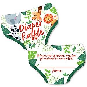 Jungle Party Animals - Diaper Shaped Raffle Ticket Inserts - Safari Zoo Animal Baby Shower Activities - Diaper Raffle Game - Set of 24
