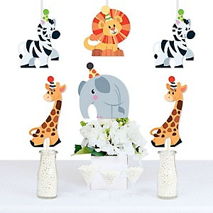 Jungle Party Animals - Elephant, Giraffe, Lion and Zebra Decorations DIY Safari Zoo Animal Birthday Party or Baby Shower Essentials - Set of 20