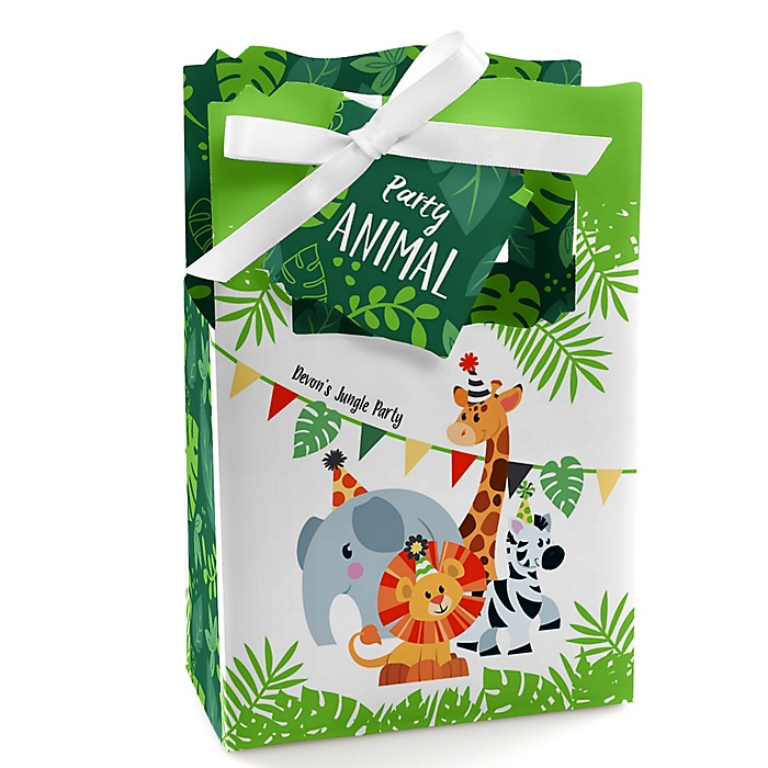 Jungle Party Animals - Personalized Safari Zoo Animal Birthday Party or Baby Shower Favor Boxes - Set of 12