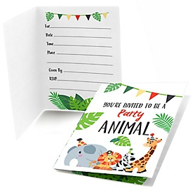 Jungle Party Animals - Fill In Safari Zoo Animal Birthday Party or Baby Shower Invitations - 8 ct