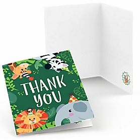 Jungle Party Animals - Safari Zoo Animal Birthday Party or Baby Shower Thank You Cards - 8 ct