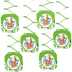 Jungle Party Animals - Safari Zoo Animal Birthday Party or Baby Shower Hanging Decorations - 6 ct