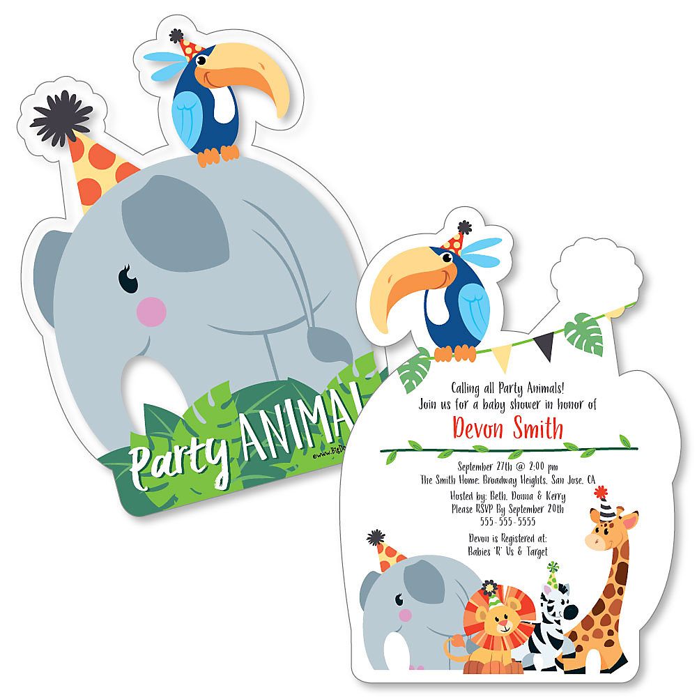 Jungle Party Animals Shaped Safari Zoo Animal Baby Shower
