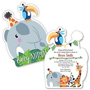 Jungle Party Animals - Shaped Safari Zoo Animal Baby Shower Invitations - Set of 12