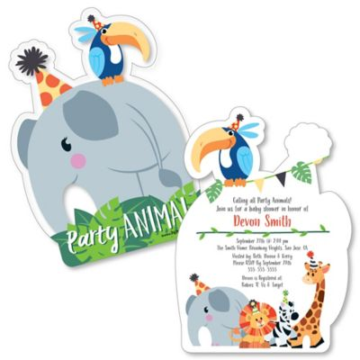 Jungle Party Animals   Shaped Safari Zoo Animal Baby Shower Invitations