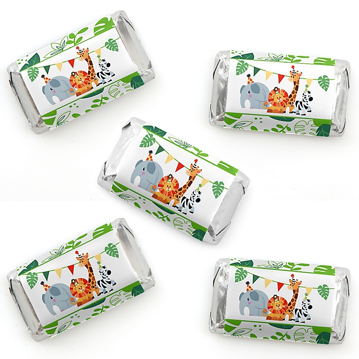 Jungle Party Animals - Mini Candy Bar Wrapper Stickers - Safari Zoo Animal Birthday Party or Baby Shower Small Favors - 40 Count