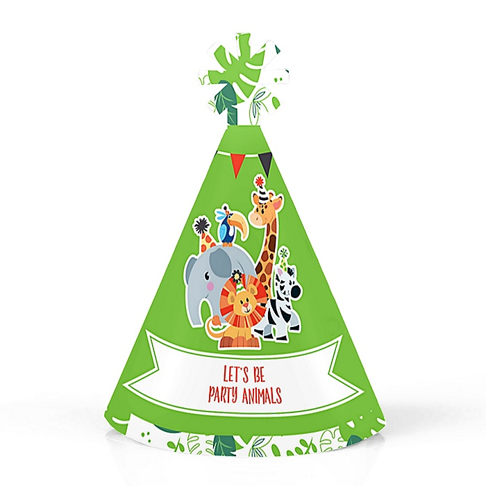 Jungle Party Animals - Personalized Mini Cone Safari Zoo Animal Birthday Party or Baby Shower Hats - Small Little Party Hats - Set of 10