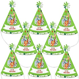 Jungle Party Animals - Mini Cone Safari Zoo Animal Birthday Party or Baby Shower Hats - Small Little Party Hats - Set of 8