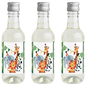 Jungle Party Animals - Mini Wine and Champagne Bottle Label Stickers - Safari Zoo Animal Birthday Party or Baby Shower Favor Gift for Women and Men - Set of 16